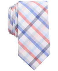 Bar Iii Men's Coral Blue Check Slim Tie Only At Macy's Blue Coral