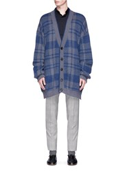 Wooyoungmi Check Plaid Jacquard Oversized Cardigan Blue