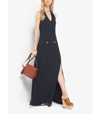 Tie Neck Matte Jersey Maxi Dress