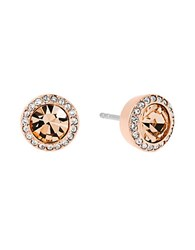 Michael Kors Brilliance Cubic Zirconia And Crystal Stud Earrings Rose Gold