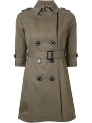 Guild Prime Half Sleeve Flared Trench Coat Green