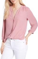 Nydj Pleat Back Blouse Wood Rose