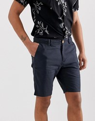 Blend Of America Cotton Linen Mix Shorts In Navy Blue