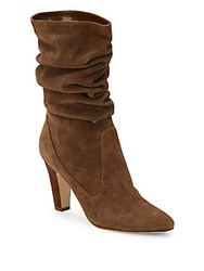 Manolo Blahnik Artesina Suede Slouchy Mid Calf Boots Brown