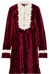 Anna Sui To The One I Love Lace Trimmed Crushed Velvet Mini Dress Burgundy