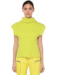 Unravel Structured Wool Blend Top Yellow
