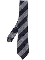 Canali Striped Woven Tie Blue