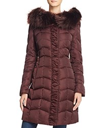 T Tahari Addison Faux Fur Trim Puffer Coat Merlot