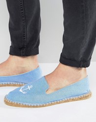 Asos Espadrilles In Blue Chambray With Anchor Embroidery Blue