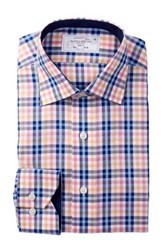 Lorenzo Uomo Long Sleeve Trim Fit No Wrinkle Textured Plaid Dress Shirt Multi