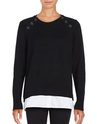 Karl Lagerfeld Crewneck Mock Layer Sweater Black