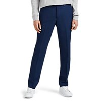 Barneys New York Worsted Wool Flat Front Trousers Navy