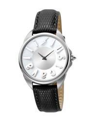 Just Cavalli 34Mm Logo Stainless Steel Watch W Leather Strap Black