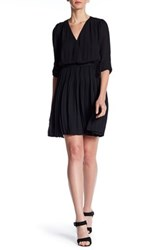 Daniel Rainn Surplice V Neck Pleated Dress Black