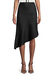 Saks Fifth Avenue Black Asymmetrical Linen Skirt Black