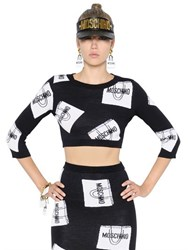 Moschino Cropped Shopping Bags Wool Sweater