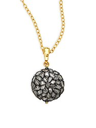 Gurhan Spell Slice Diamond 24K Yellow Gold And Sterling Silver Pendant Necklace