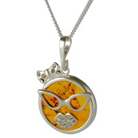 Be Jewelled Amber Carnival Cat Pendant Necklace Cognac