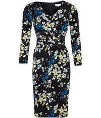 Cc Petite Lift And Shape Bloom Print Dress Navy