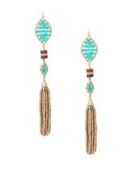 Design Lab Lord And Taylor Beaded Fringe Drop Earrings Gold Mutli