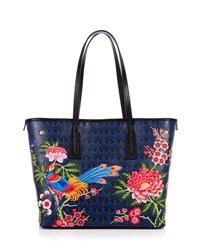 Liberty London Elysian Embroidery Little Marlborough Tote Bag Dark Blue