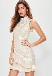 Missguided Nude High Neck Lace Frill Detail Dress White