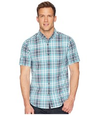 Royal Robbins Mid Coast Seersucker Plaid Short Sleeve Collins Blue Short Sleeve Button Up