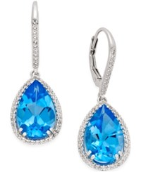 Macy's Blue 9 1 2 Ct. T.W. And White Topaz 1 2 Ct. T.W. Halo Earrings In Sterling Silver
