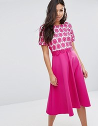 Asos Overlay Lace Midi Dress With Scuba Skirt Fuschia Pink