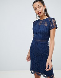 Chi Chi London Cap Sleeve Lace Pencil Dress Navy