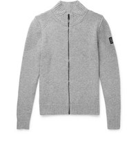 Belstaff Renhold Slim Fit Wool And Cashmere Blend Zip Up Cardigan Gray