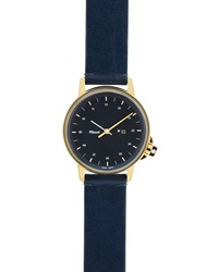 M12 Watch With Leather Strap Navy Gold Miansai