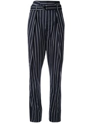 Bassike Pinstripe Belted Tailored Trousers Blue