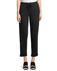 Neiman Marcus Rolled Cuff Jogger Pants Black