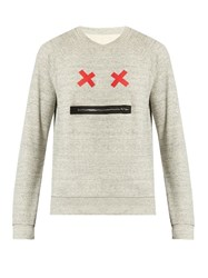 Marc Jacobs Zip Face Crew Neck Cotton Sweatshirt Grey