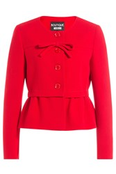 Boutique Moschino Wool Jacket With Peplum Red