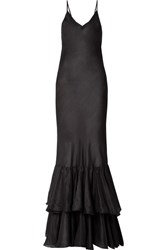 Mes Demoiselles Petale Tiered Washed Silk Maxi Dress Black Gbp