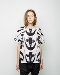 Zero Maria Cornejo Tabi Printed Top Black White