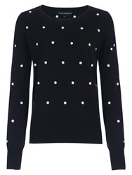 French Connection Polka Dot Long Sleeve Jumper Black Winter White