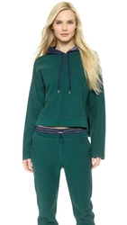 Alexander Wang French Terry And Nylon Hoodie Forest