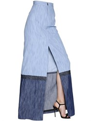 Dsquared2 Cotton Denim Long Skirt With Front Slit