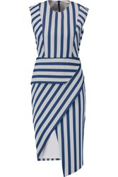 Mason By Michelle Mason Asymmetric Striped Twill Dress Blue