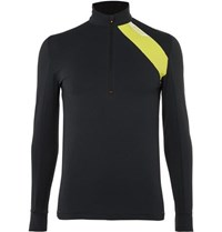 Soar Running Mid Temperature Half Zip Stretch Jersey Top Black