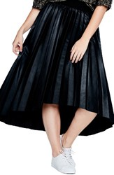 Elvi Plus Size Women's Pleated Dip Hem Faux Leather Skirt