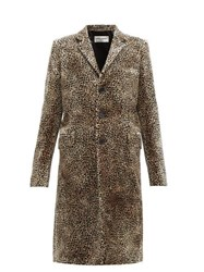 Saint Laurent Leopard Print Single Breasted Velvet Coat Leopard