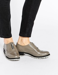 Park Lane Zip Front Chunky Leather Flat Shoes Grey