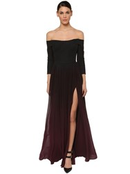 Elie Saab Long Off The Shoulder Silk Dress Black7 Burgundy