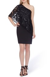 Tahari Women's One Shoulder Sequin Dress Black