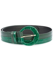 Oscar De La Renta Two Tone Belt Women Aligator Leather L Green