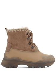 Mou 50Mm Leather And Rubber Lace Up Boots Beige